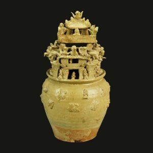 三国吴 · 青瓷堆塑人物楼阙魂瓶(六朝博物馆)