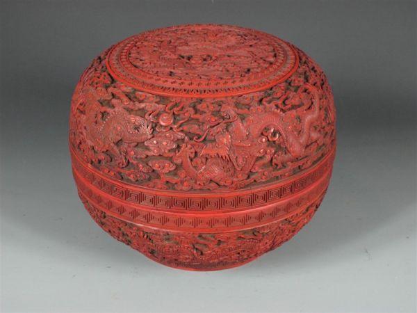 清代 · 剔红云龙纹盒(浙江省博物馆)