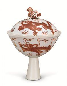 清代 · 红彩龙纹高足盖碗(湖北省博物馆)