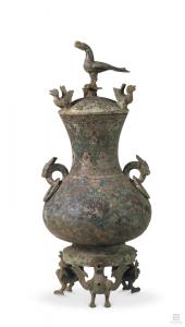 战国 · 错金银立鸟几何纹铜壶(南京博物院)