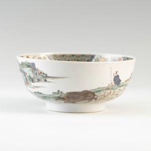 清代 · 景德镇窑五彩耕织图碗(上海博物馆)