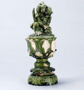 北宋 · 吉州窑绿釉狮盖香熏(安徽博物院)