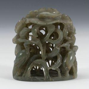 元代 · 莲鹭纹玉炉顶(上海博物馆)
