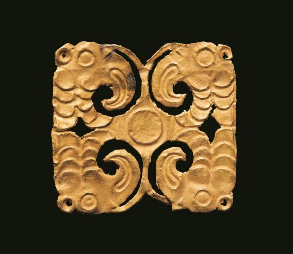战国 · 四鸟纹金饰片(甘肃省博物馆)