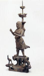 明代 · 青铜人物烛台(杭州博物馆)