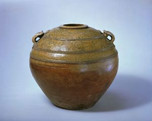 西汉 · 原始瓷青釉划花双系罐(故宫博物院))