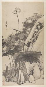 清代 · 朱耷《墨荷图》立轴(安徽博物院)