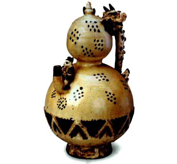 金代 · 白釉黑花葫芦形倒装壶(辽宁省博物馆)