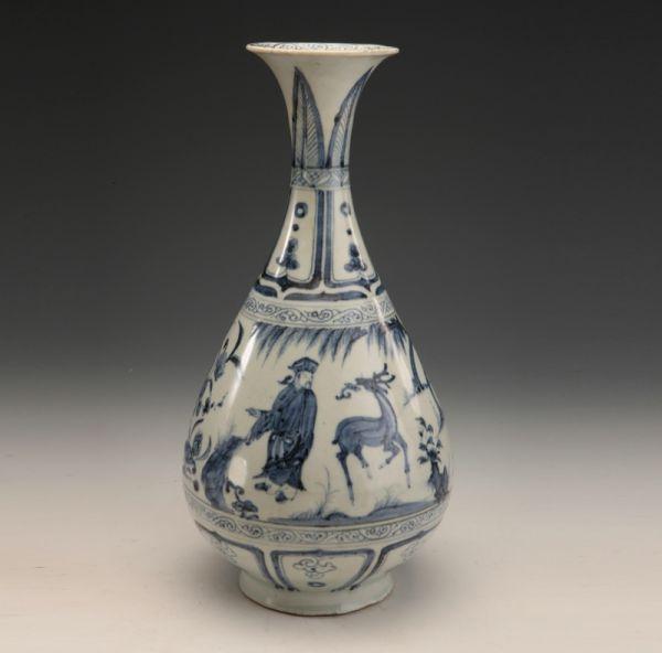 元代 · 青花人物图玉壶春瓶(广东省博物馆)