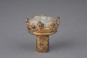 西汉 · 铜鎏金镶玉瑟内(河北博物院)