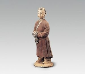 元代 · 髡发男立俑(陕西历史博物馆)