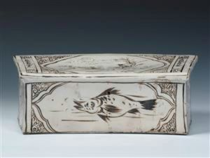 清代 · 宋磁州窑褐彩人物纹枕(浙江省博物馆)
