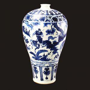 元代 · 青花萧何月下追韩信图梅瓶(南京市博物馆)