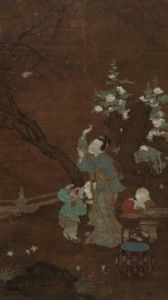 明代 · 无款人物花鸟图轴(湖南省博物馆)