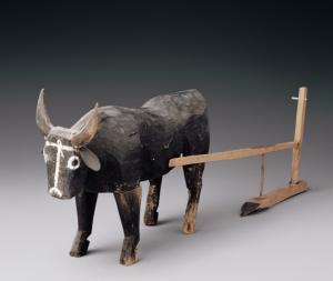 汉代 · 彩绘木牛拉犁(甘肃省博物馆)