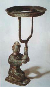 战国 · 跽坐人漆绘铜灯(河南博物院 )