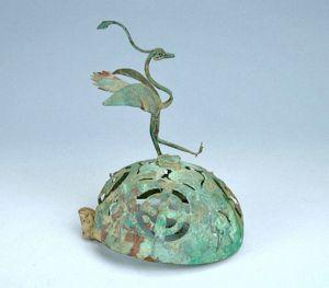 汉代 · 鸾凤铜熏炉盖(青海省博物馆)