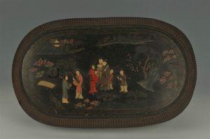 清代 · 竹丝编黑漆彩绘人物纹腰圆形盒(安徽博物院)
