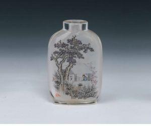 清代 · 马少宣玻璃内画松荫读书图鼻烟壶(重庆中国三峡博物馆)