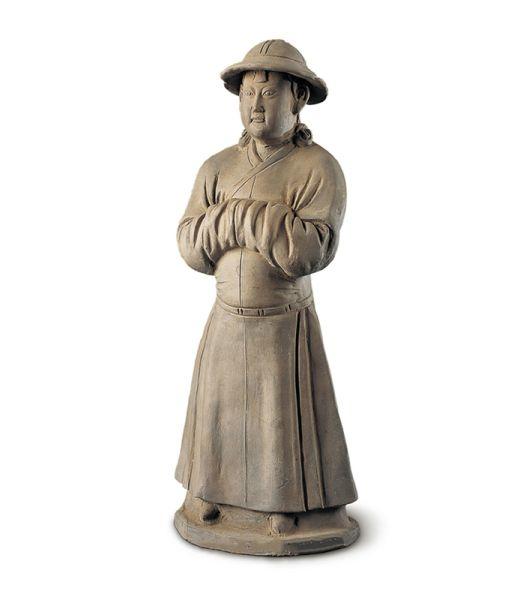 元代 · 灰陶男立俑(陕西历史博物馆)
